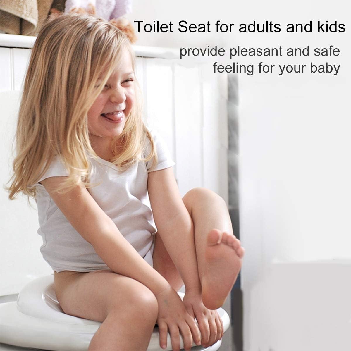 Si/ège De Toilette Enfant Douce Silencieux avec Chasse dEau Rapide et Facile Equipement Lunette de Toilette pour Adultes et Enfants Blanc FLYFLY Abattants WC