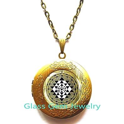 Sri yantra Locket Necklace, Sacred geometry Yoga Locket ...