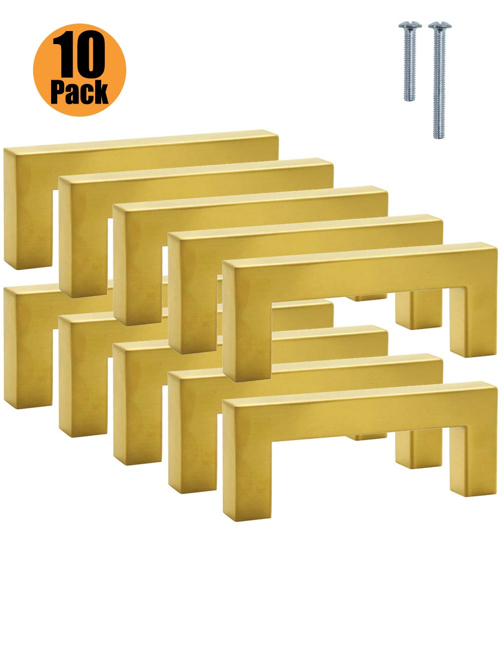acero inoxidable PinLin 10 Pack acero inoxidable Tiradores para puerta de armario de cocina Hole Centre 96mm 12 mm de ancho color dorado
