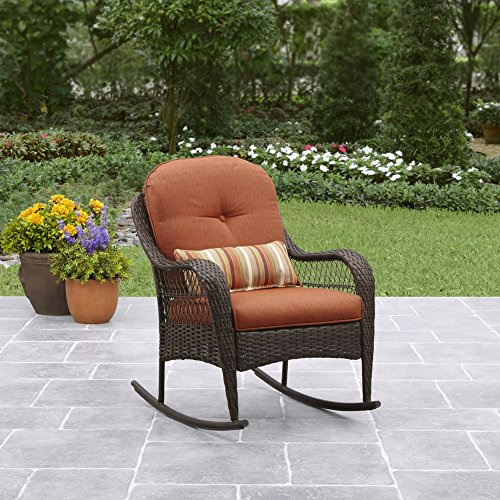 Better Homes and Gardens Azalea Ridge Porch Rocking Chair with Cushions and Lumbar Pillows Included