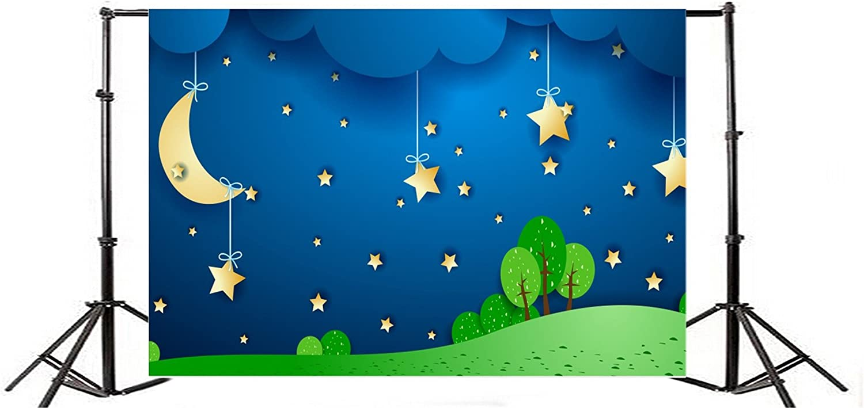 Window View Backdrop 10x7ft Surreal Romantic Night Vinyl Photography Background Fairytale Towns Bright Moon Twinkle Stars Children Kids Baby Shower Portraits Shoot Photo Prop Decor Studio