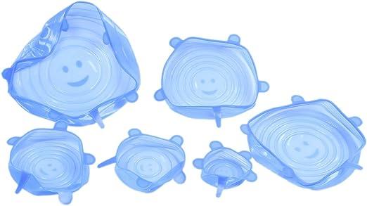 TOOGOO Coperchi elasticizzati in silicone Confezione da 6 pezzi Confezioni alimentari estensibili per tazze barattoli piatti lattine pentole tazze ciotole