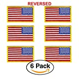6 Pack – REVERSED American Flag Embroidered Patch, Gold Border USA United States of America, US Army flag Patch, sew on