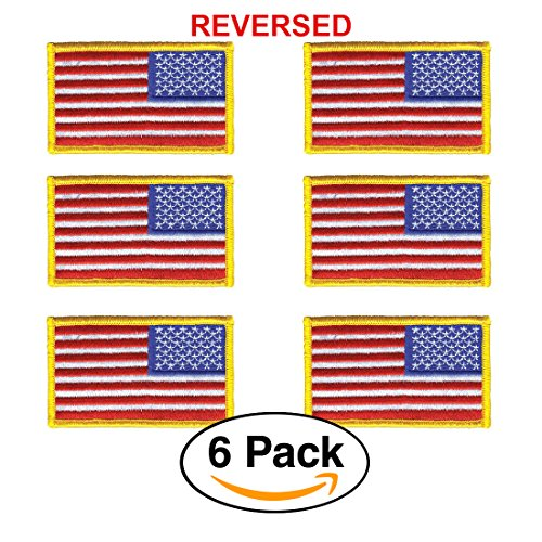 6 Pack – REVERSED American Flag Embroidered Patch, Gold Border USA United States of America, US Army flag Patch, sew on by Hero's Pride
