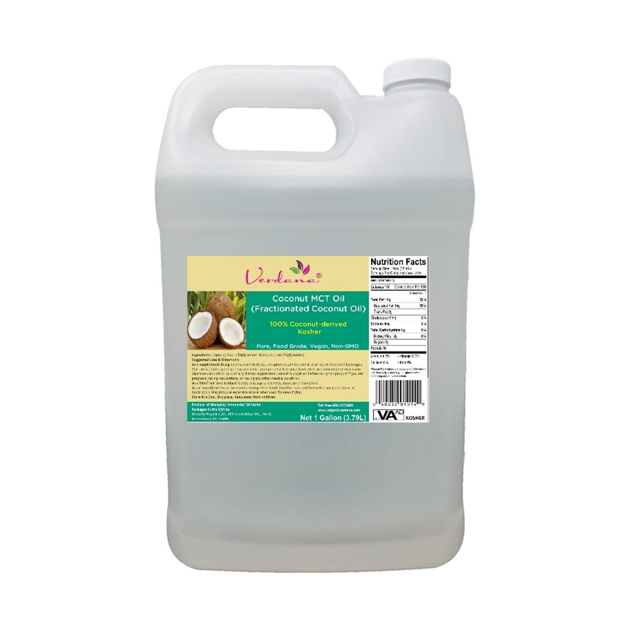 Verdana Coconut MCT Oil - Fractionated Coconut Oil - 1 Gallon – Food Grade - Genuine 100% from Coconut - Only C8 & C10 – for Keto, Paleo, Sports Nutrition, Aromatherapy, Massage, Tinctures
