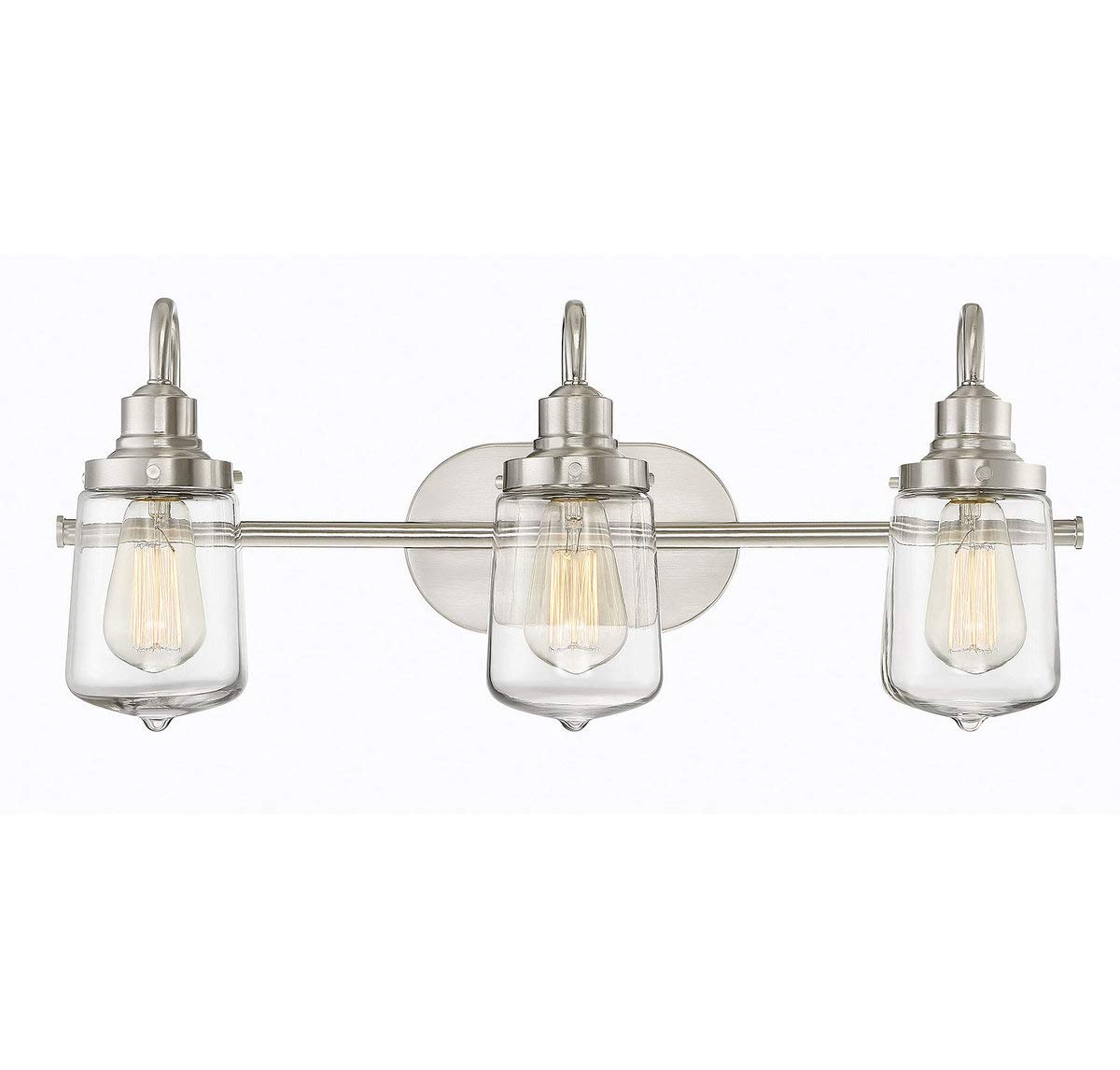 Trade Winds Lighting TW80017BN 3-Light Industrial Retro Vintage Transitional Loft Vanity Bath Light with Clear Glass in Brushed Nickel