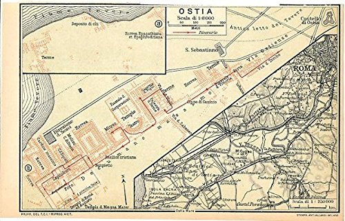 Ostia in Rome Italy & environs 1930 color lithograph city plan map