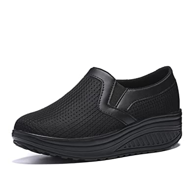 fd39695728a L LOUBIT Women Wedge Shoes Breathable Mesh Sneakers Slip On Comfort Walking  Shoes 1608 Black 36