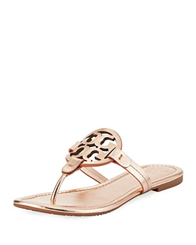 68a098c44377 Tory Burch Miller Metallic Leather Thong Sandals