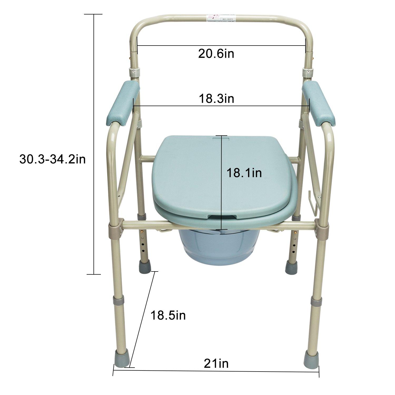 Amazon.com: Mefeir Commode Toilet Chair Heavy Duty Steel 330LBS, FDA ...