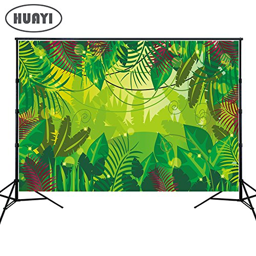 HUAYI 7x5ft Jungle Backdrops Photography Background Green Forest Wall Safari Themed backdrop Baby shower Dessert Table Background Banner Photo Booth Background Xt-6715 -
