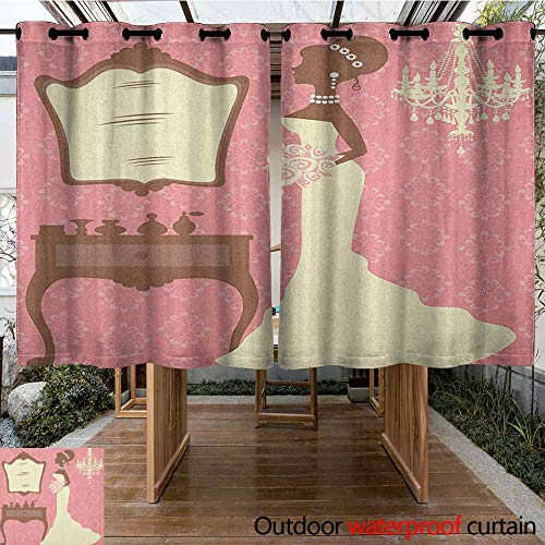 AndyTours Outdoor Blackout Curtain,Bridal Shower,Wedding Dress with Flowers and Vanity Swirl Backdrop Celebration,for Patio/Front Porch,K160C115 Coral Brown and White