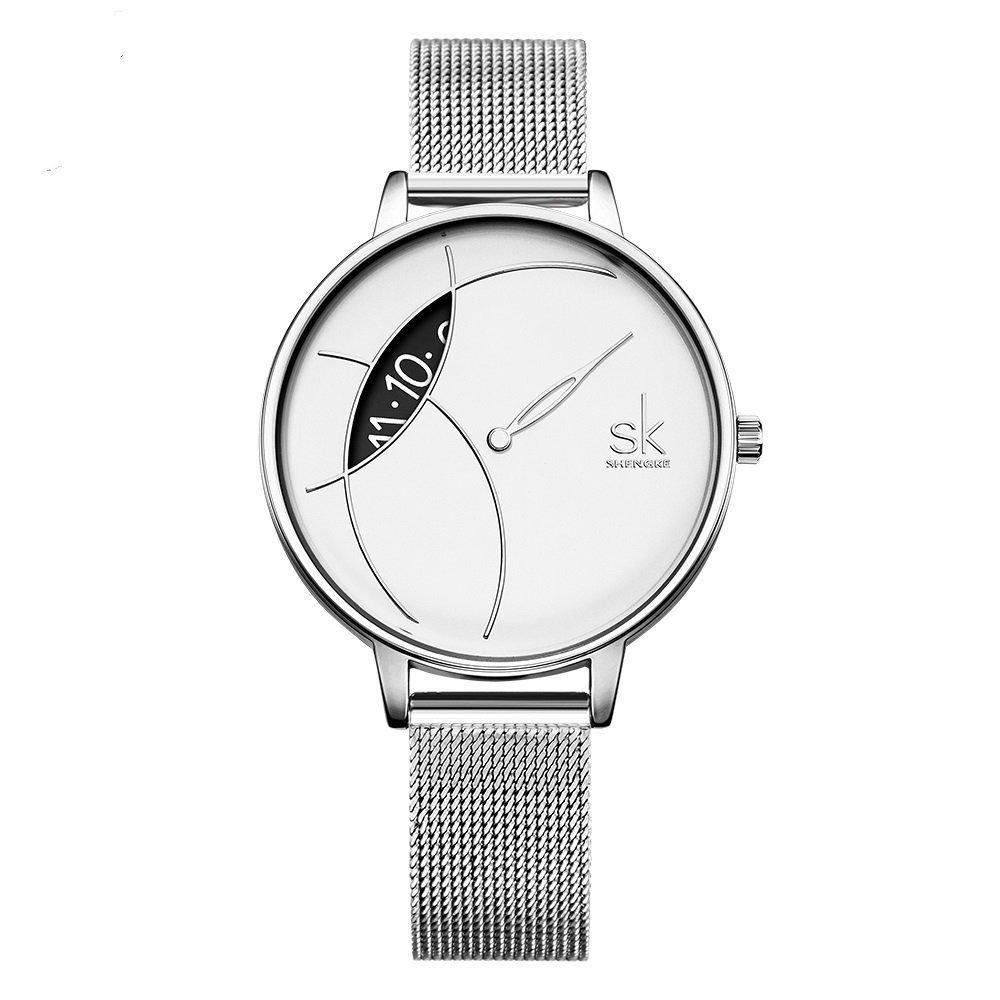 SHENGKE Elegant Simplicity Quartz Watch Mesh Band Women Watches Ladies Business Wristwatch 2018 K006L (Silver)