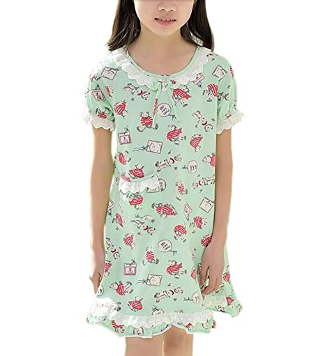 cc19e708ff0 Buy Kids Floral Summer Short Sleeve Sleepwear Cotton Nightdress Online at  Low Prices in India - Amazon.in