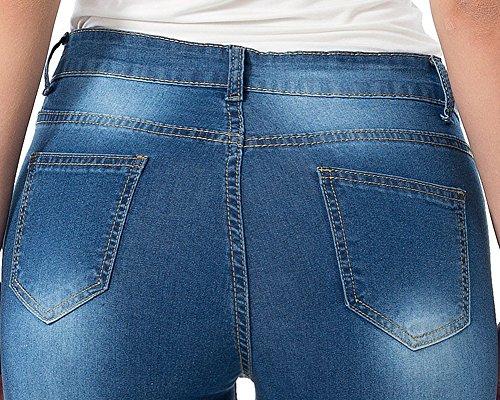 Pantaloni À Unita alta Strenchy Medio Vita Comodo Ricamato Città Donna Righe Jeans Blu Tinta Zhuikuna qwx75f8p