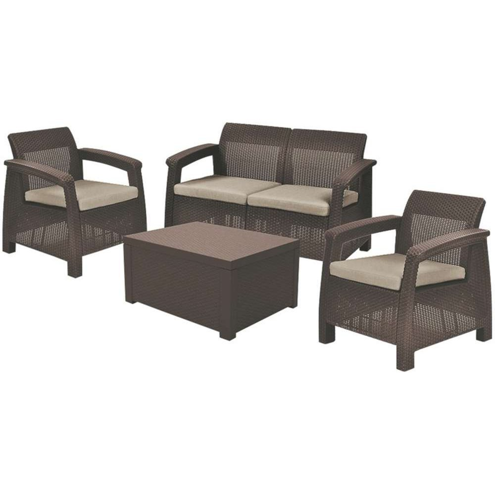 JUSThome Corfu Set Box Sitzgruppe Gartenmöbel Gartengarnitur 2x Sessel + 1x Sofa + Tisch in Rattan-Optik Braun Taupe