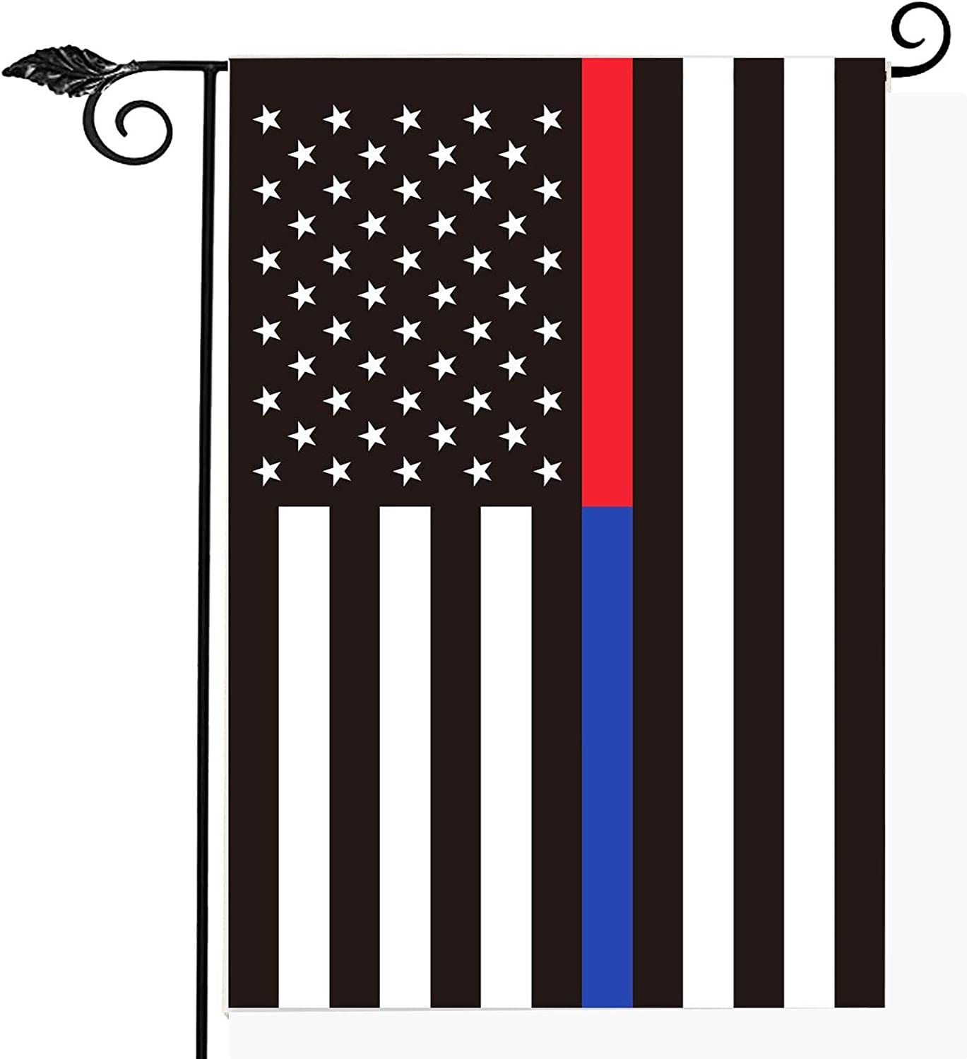 Red Blue Line American Garden Flag- Support Firefighter Police USA Flags 12x18 Inch for Firemen Law Enforcement