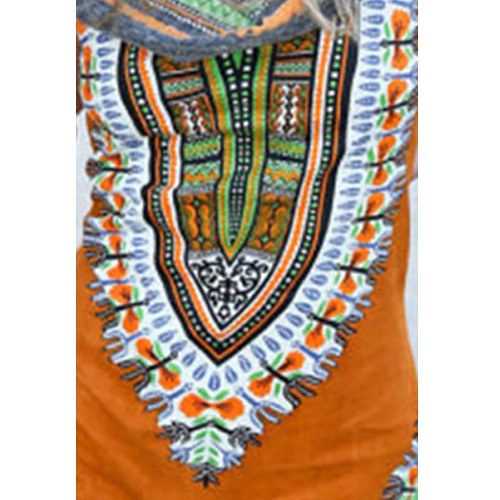 Women Boho Hooded Tunic Dress,Lady Summer Fashion Sleeveless Vintage Print Mini Beach Dresses (Large, Orange) by LANTOVI Women Dress (Image #5)