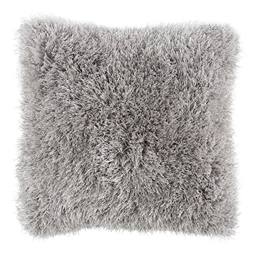 Bedford Home Oversized Floor or Throw Pillow Square Luxury Plush- Shag Faux Fur Glam Decor Cushion for Bedroom Living Room or Dorm (Grey)]()