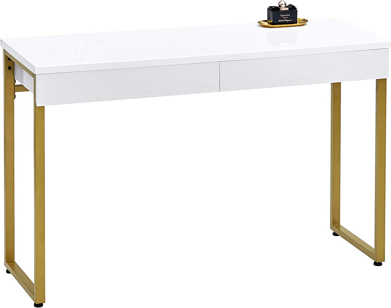 GreenForest Vanity Desk Glossy White Makeup Table 39.4inch with 2 Drawers Modern Computer Console Table with Metal Bronze Legs for Living Room Entryway Hallways