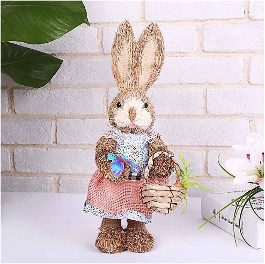 Standing Straw Rabbit with Carrot Basket Easter Decor Gifts with for Home Decor Easter Simulation Bunny Decorations