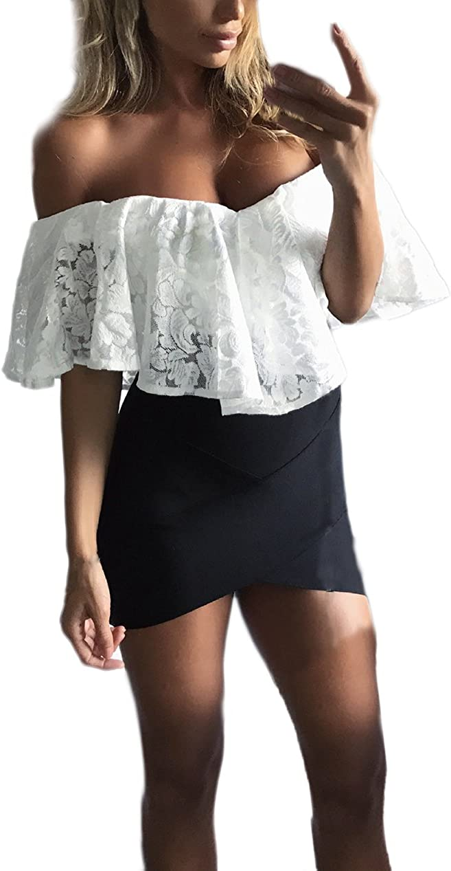 Body Donna Pizzo Elegante Estivi Bodysuit A Pieghe Senza Spalline Senza Schienale Tentazione Lingerie Trasparente Manica Corta Spalla di Parola Tops Tuta Slim Fit