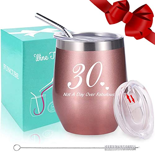 30th Birthday for Women, Wine Tumbler with Funny Saying,Not A Day Over Fabulous,12oz Insulated Stemless Wine Glasses with Sliding Lid and Straw, Funny Wine for Her Rose Gold