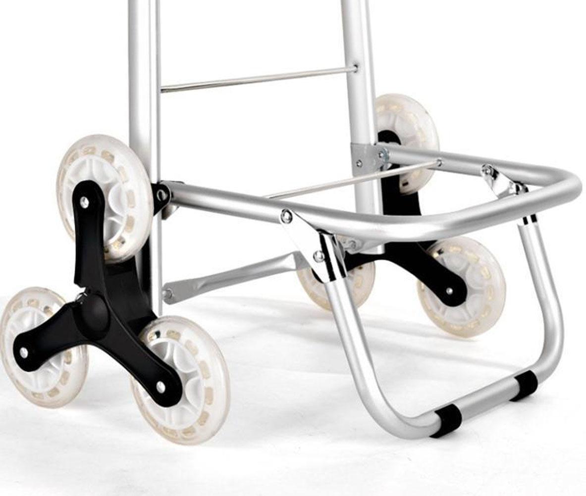 GxNI Carro de la compra plegable de tres ruedas, carro de la aleación de aluminio de la escalera que sube Carro de la utilidad del supermercado escaleras de ...