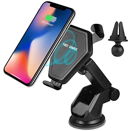 Qi Fast Wireless Car Mount Charger,XP Tech Gravity Linkage 2 in 1 Dashboard &