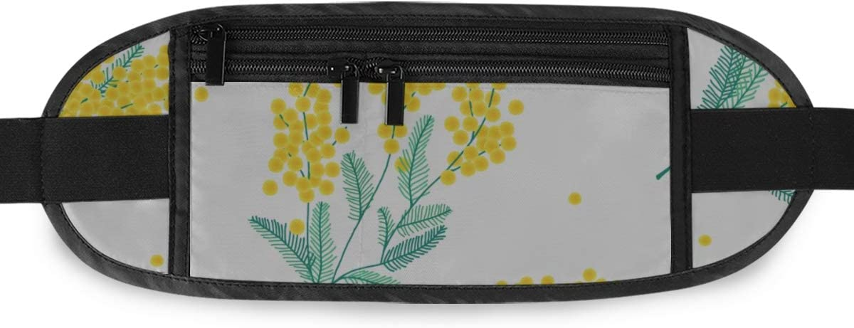 Travel Waist Pack,travel Pocket With Adjustable Belt Botanical Pattern Yellow Mimosa Flowers Running Lumbar Pack For Travel Outdoor Sports Walking