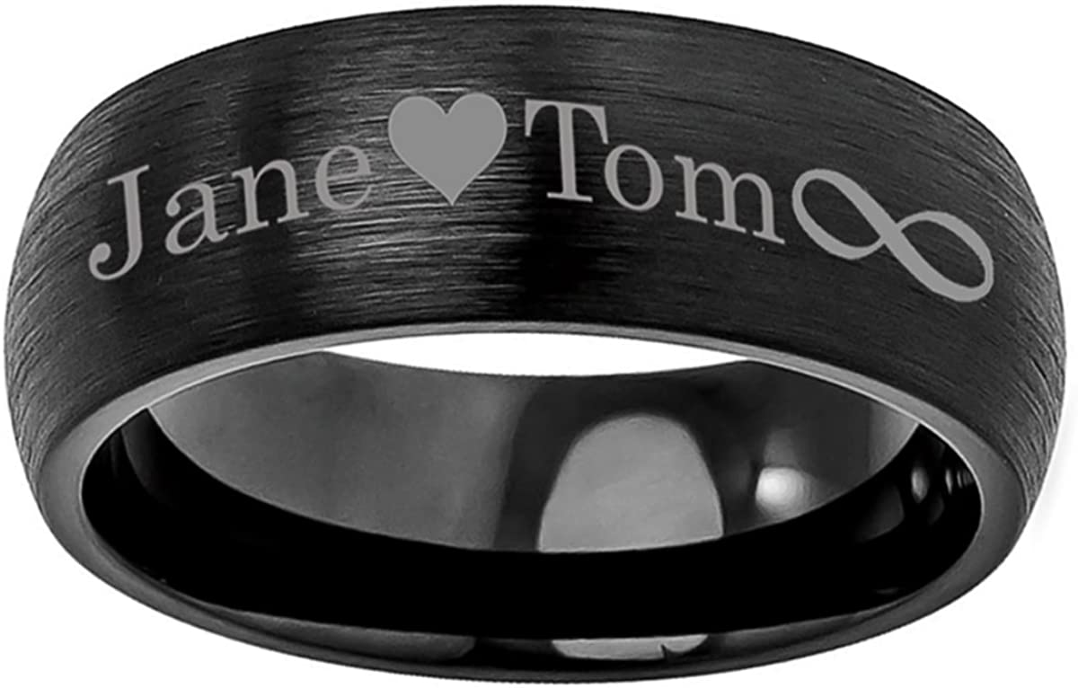 Personalized Outside Inside Engraving Cobalt Wedding Band Ring 8mm Brushed Classic Domed Black Ring