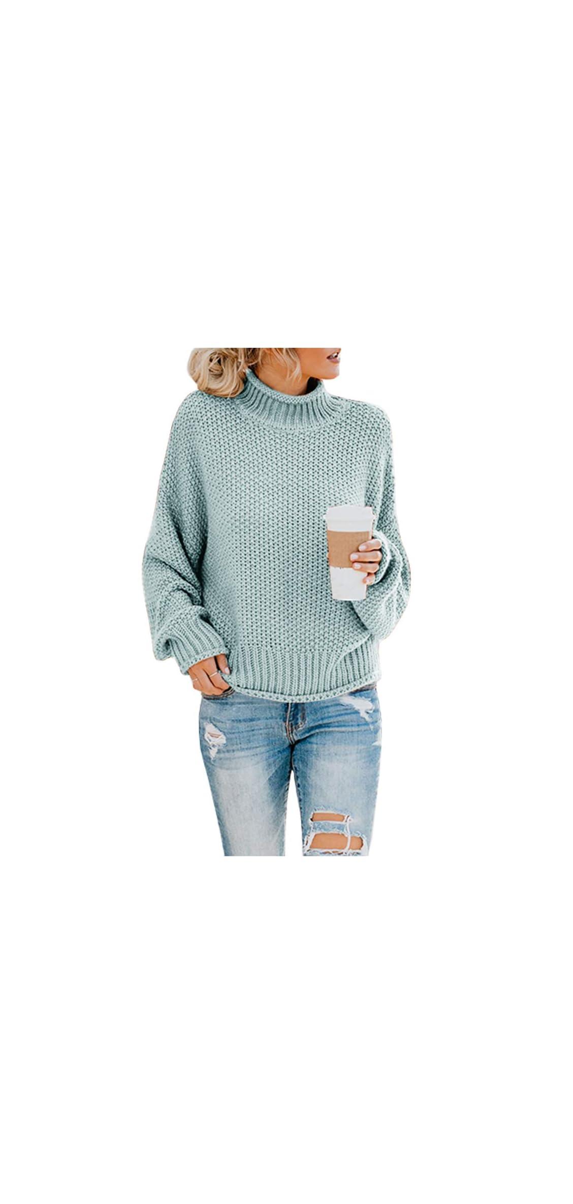 Womens Turtleneck Sweaters Oversized Chunky Batwing Long