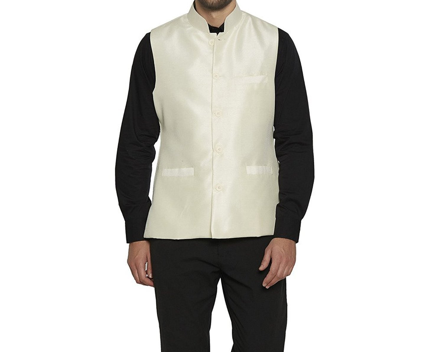 Royal Kurta Men's Silk Blend Ethnic Bundi Nehru Jacket For Festive Fusion Wear 42 Off white by Royal Kurta