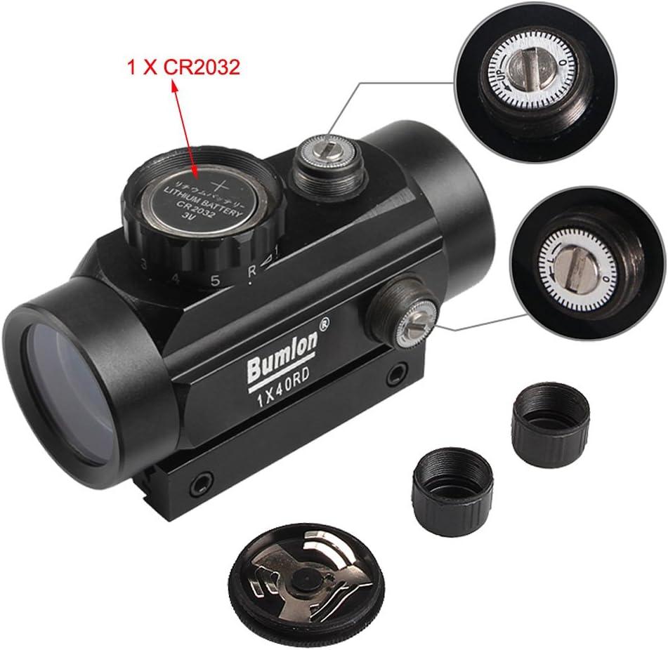 1X40 Red Green Dot 2 Kinds 20mm scope Telescopic Sight//11mm Weave Rail Mounts
