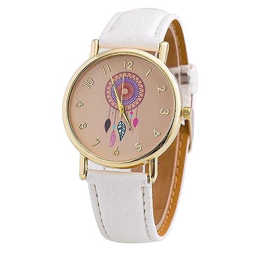 Moda Relojes para Mujer Niña - Correa de Cuero PU Dreamcatcher Atrapasueños Relojes de Pulsera para Señoras, Blanco: Amazon.es: Relojes