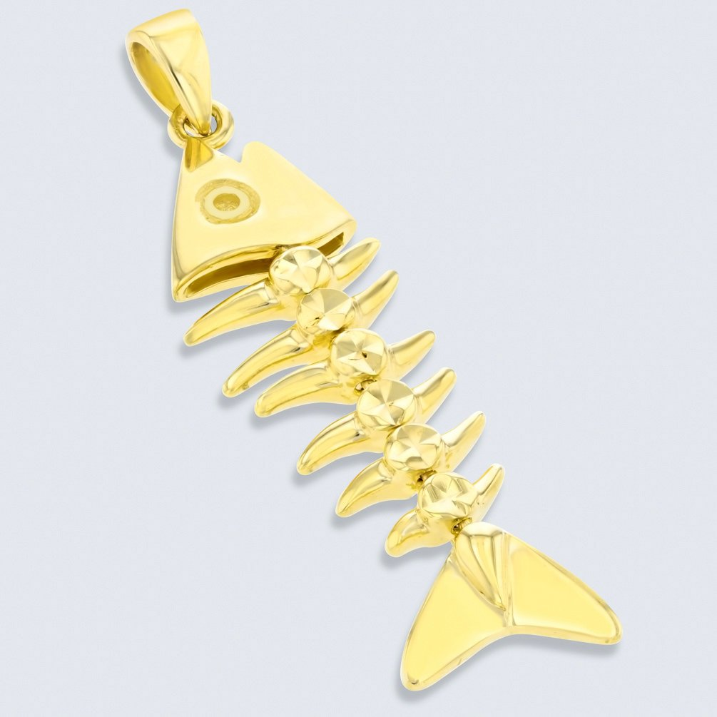 Solid 14K Yellow Gold Dangling Fishbones Pendant with Figaro Chain Necklace 24 JewelryAmerica AR-Fi444302-pn-24