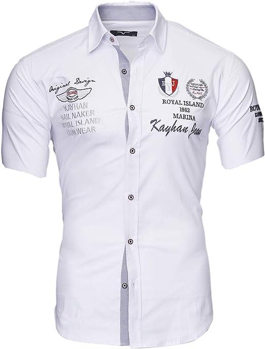 Kayhan Hombre Camisa Manga Corta Slim Fit S - 6XL Modello Monaco: Amazon.es: Ropa y accesorios