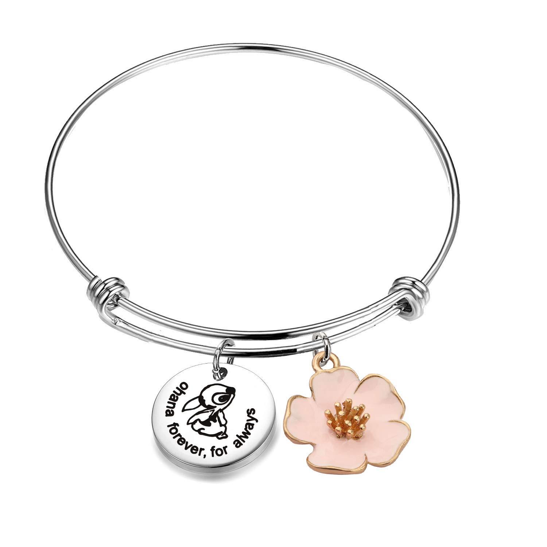 AKTAP Ohana Bracelet Ohana Forever for Always Ohana Jewelry with Hibiscus Flower Charm (Ohana Bracelet) by AKTAP