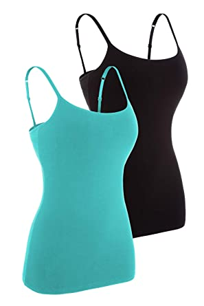 f56a5f8e83 Women Basic Cotton Tank Top Shirts Adjustable Camisole Built in Bra Aqua  Black S