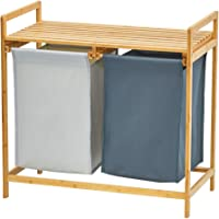 WORTHYEAH Bamboo Laundry Hamper and Shelf, Dual Compartments Laundry Basket with Removable Bag, 2 Sections Laundry…