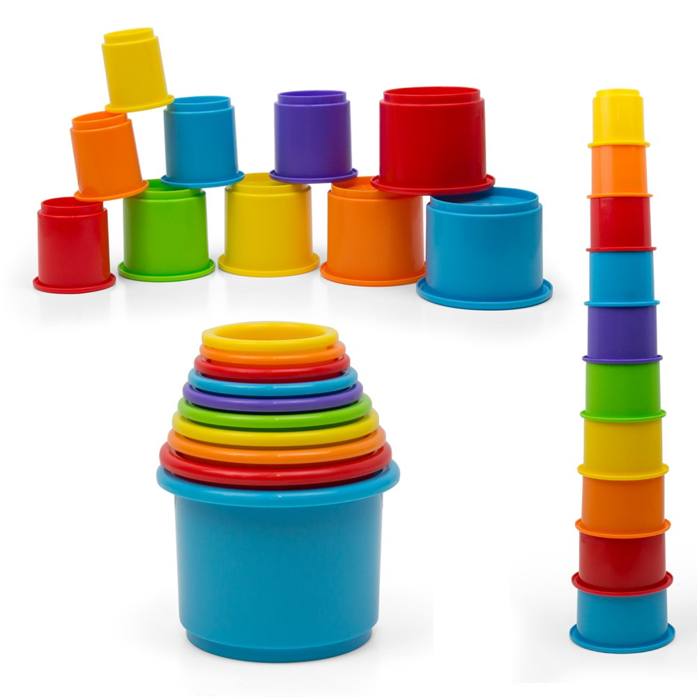 Kidsthrill Rainbow Stacking & Nesting Cups Baby Building Set. 10 Pieces. with Embossed Animal Characters. for Indoor, Outdoor, Bathtub, and Beach Fun Toy. Multi Colors