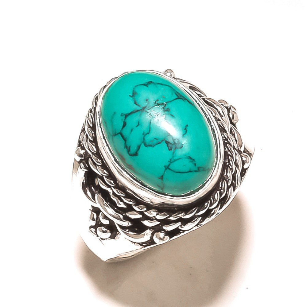 Blue Turquoise Handmade Jewellry 925 Sterling Silver Plated 7 Grams Ring Size 8 US Gift Jewelry
