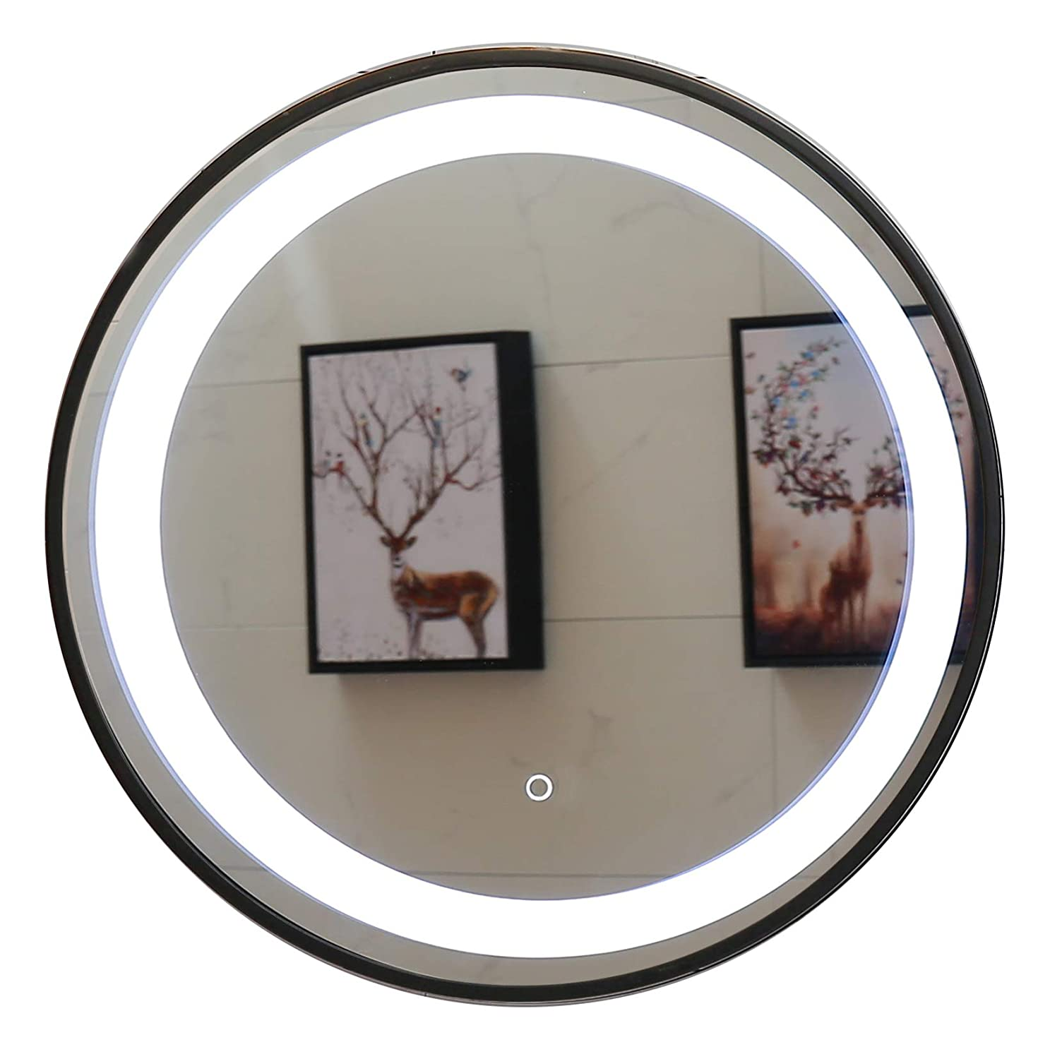 Round Mirror, 23.5 LED Lighted Bathroom Mirror with Dimmable Touch Switch GS047B-D235
