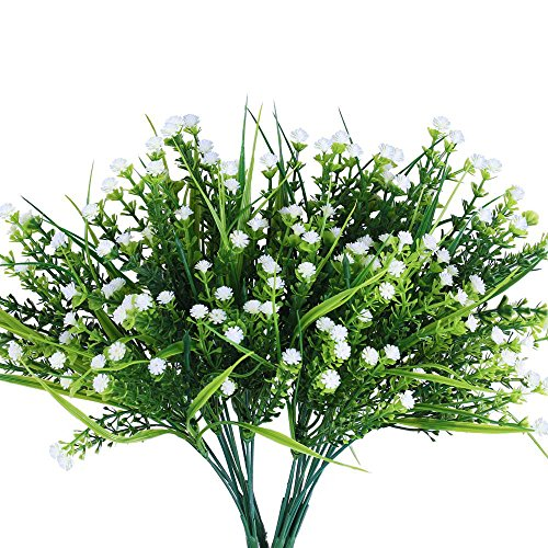 Artificial Plants, 4pcs Faux Baby's Breath Fake Gypsophila Shrubs Simulation Greenery Bushes Wedding Centerpieces Table Floral Arrangement Bouquet Filler White