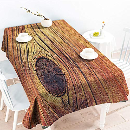Jinguizi Spillproof Table Life Tree Concept with Divided Core Macro Circles Habitat Natural Wonder PhotoOutdoor and Indoor Use TableclothBrown(70 by 90 Inch Oblong Rectangular)