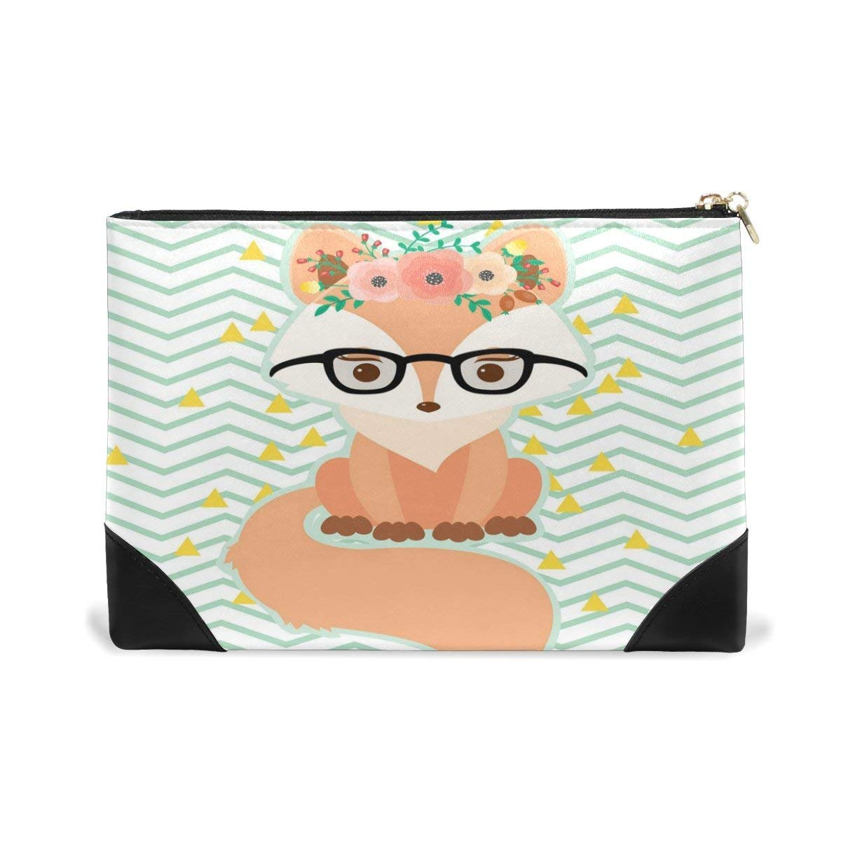 BLEFE Chevron Fox in Glasses Floral Wreath Makeup Cosmetic Bag Pouch Travel Bag for Women Girls