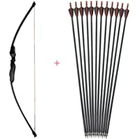 "55"" Archery 40LBS Straight Bow Take Down Recurve Bow Outdoor Hunting Practice Bow Right Hand Bow with 12 Pieces Fiberglass Arrows"