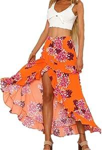 Yunbo-WS Falda de Mujer Falda Bohemia para Mujer Falda Estampada ...
