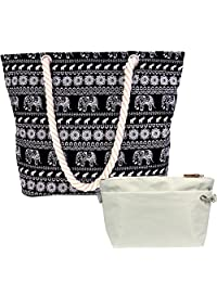 kilofly Thai Canvas Rope Handle Beach Bag Travel Shopping Shoulder Tote + Pouch