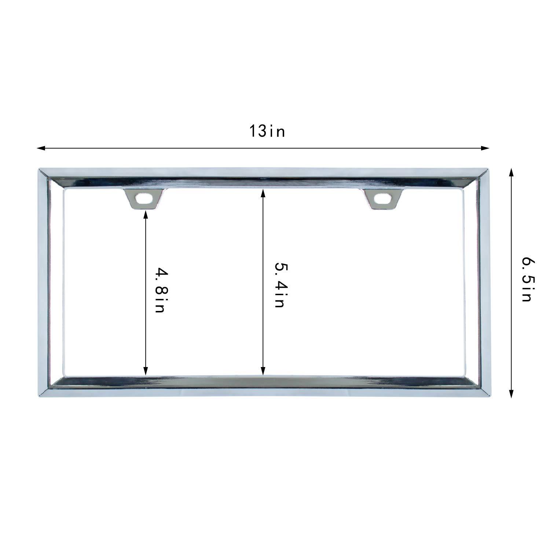 Pack of 2, Chrome Sgooky 3D Modern Triangle Pattern License Plate Frame Chrome License Plate Holder